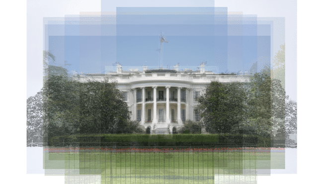 Multiple transparent images of the White House, seen from the back, are layered on top of each other. On all the edges the quantity of images is visible. Together they show a blurred image of the White House.