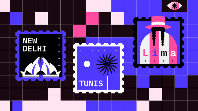 Against a mainly black background of black squares lie three stamps. The stamp on the left has a purple corrugated border, image of a white mountain against a black backdrop, and says 'new delhi'. The stamp in the middle has a corrugated white border, a black and white palm tree against a lilac backdrop, and small white moon, and says 'tunis'. The stamp to the right is of a pink and white headed person with two black plaits and a hat against a lilac background, and says Lima