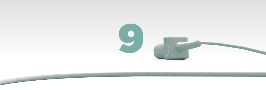 Illustration of the number nine in green with a mic laying in front of it
