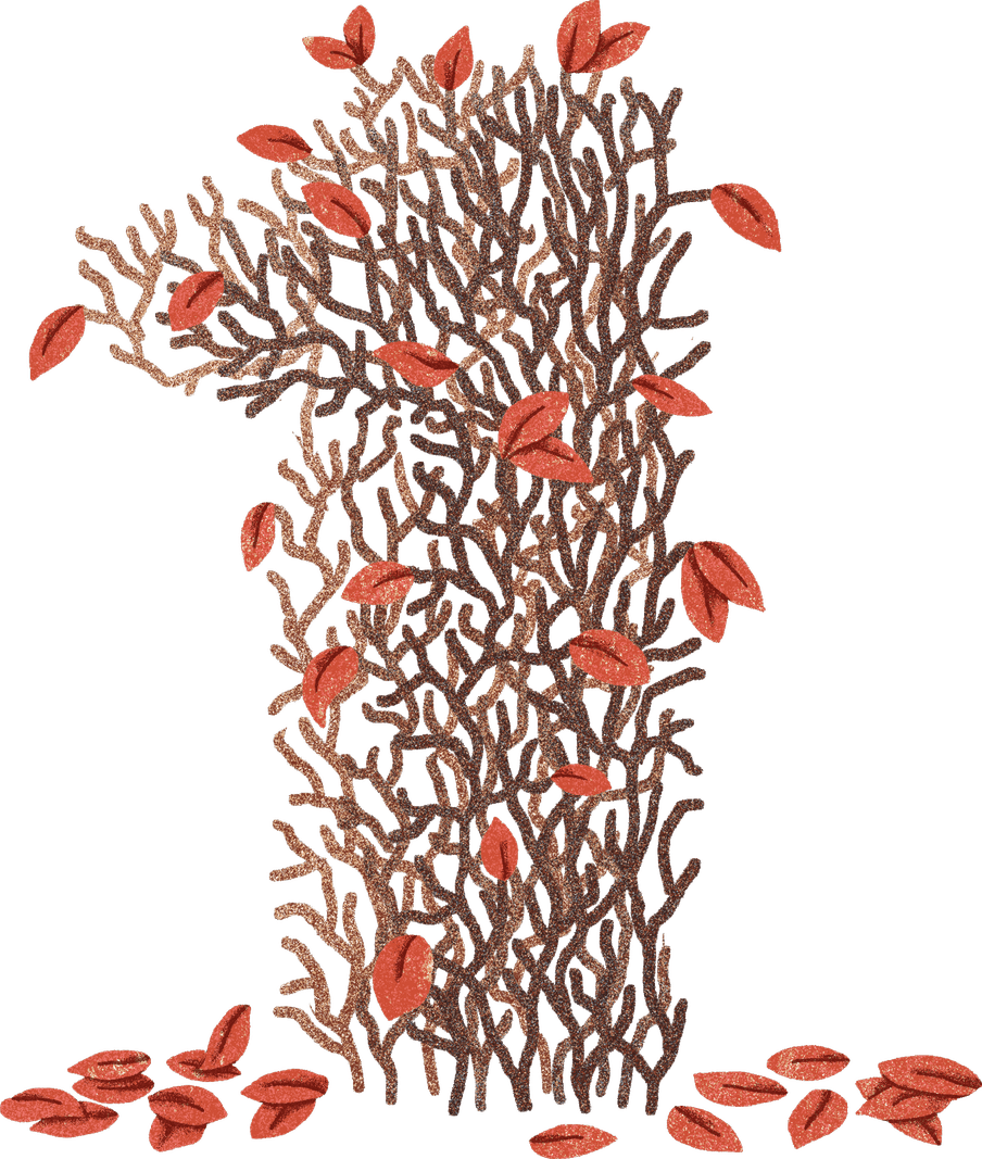 The number one illustrated out of brown leaves and branches