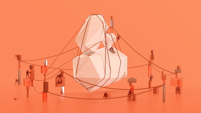 Illustration of humanlike figures working together to untangle thread surrounding an object - against an orange background