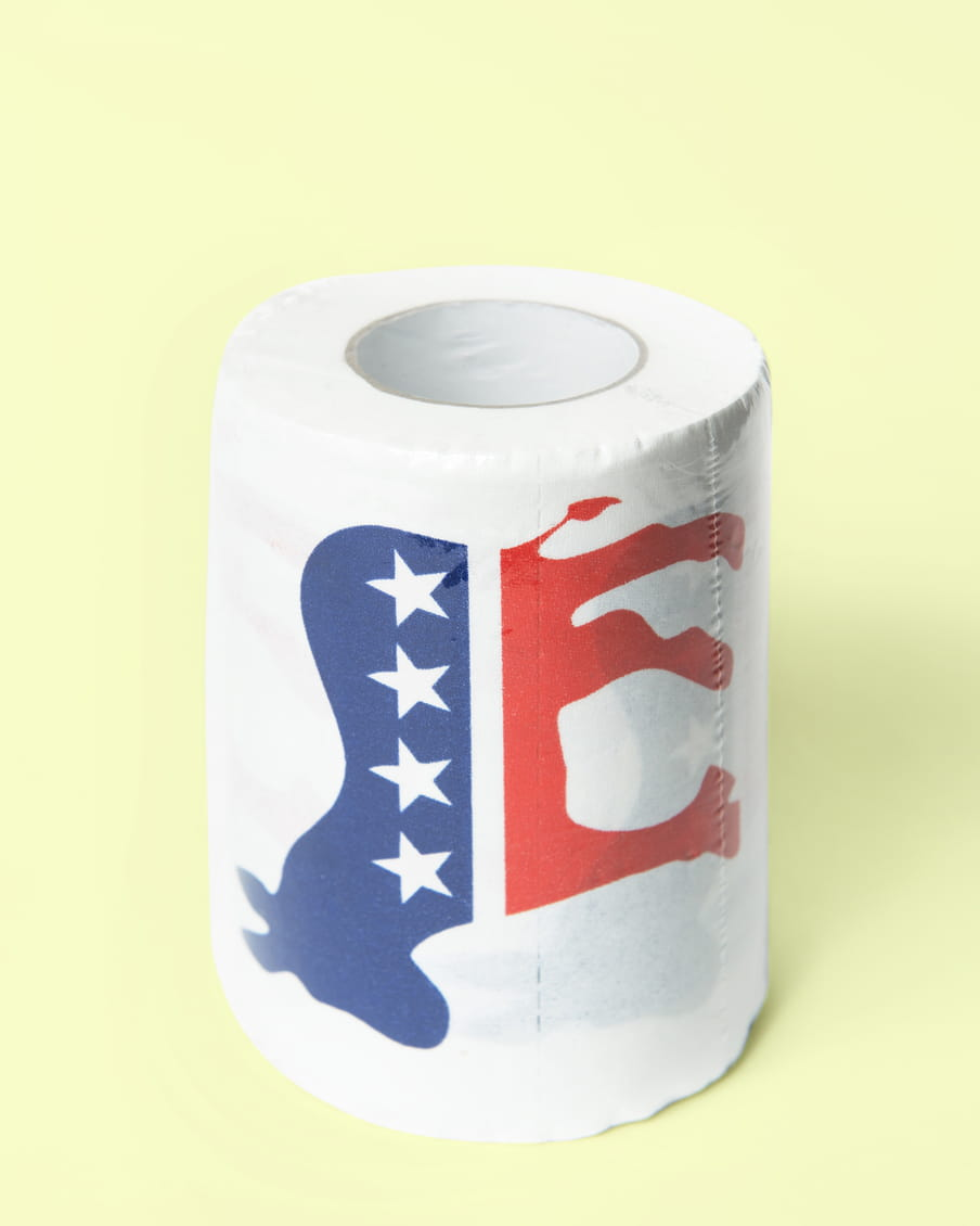 Photo of a roll of toilet paper with a republican logo on it - on a light green background