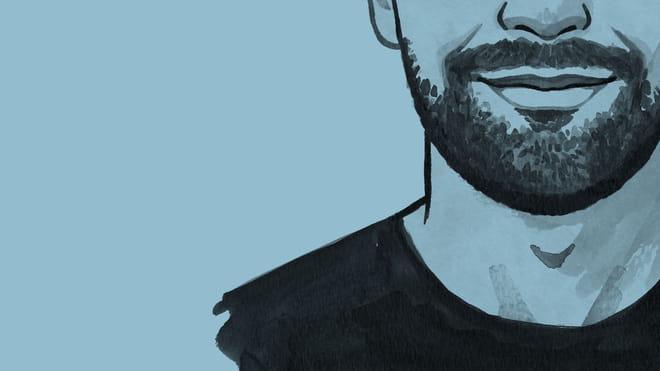 a close up line drawing of a man's head and shoulders on a blue background