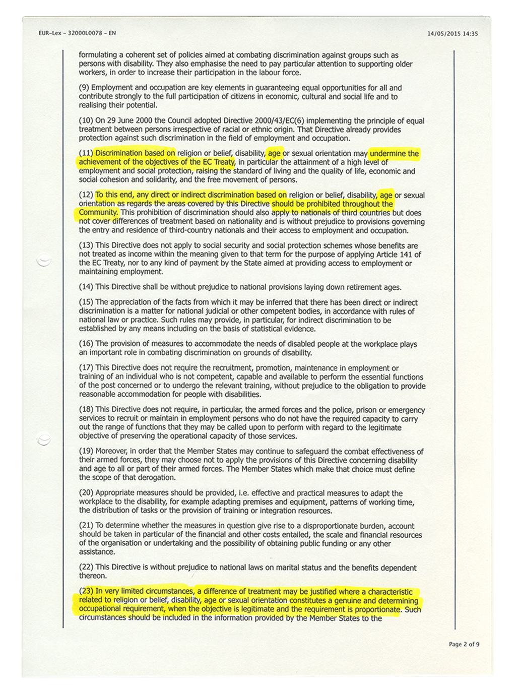 Scanned document. It states the rules on which the European Treaty is based. Highlighted with a marker are passages that deal with discrimination on basis of age.