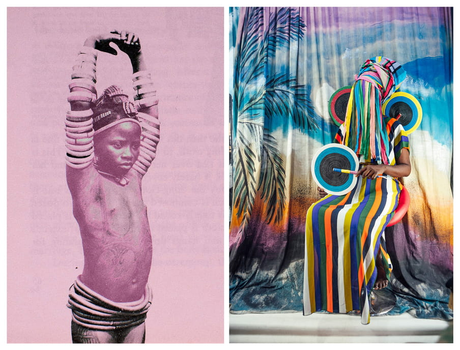 Two photos side by side: to the left, image mostly washed in pink of a young person, topless, arms raised with darker hands clasped above their head, in black coils around the waist and all along the arms. To the right, clourful backdrop of a tie dyed palm tree scene and a figure sitting with head obscured in a long head dress and dress, of orange, blue, yellow and green horizontal stripes. Two circle shoulder pads sit out from their shoulders, and they hold a circular fan with arm skin visible