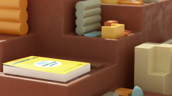 What looks like a brown foam-looking staircase with inlaid margins, upon which rest pastel yellow, blue, orange and white foam-looking arcs or shapes in 3D shapes. The light on this scene casts a shadow on the different depths. On the lowest level is a white book by 'Call Newport' called 'Digital Minimalism'.