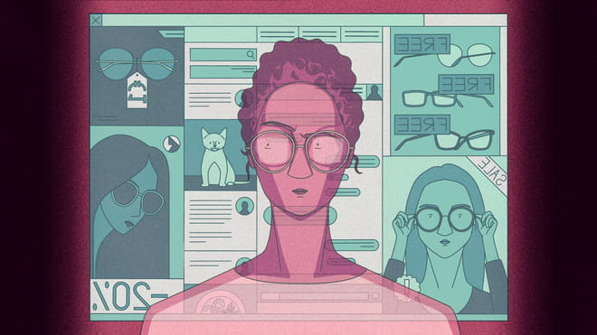 Illustration of a woman sitting in front of her computerscreen, frowning at the advertisements of glasses she's suddenly confronted with since she decided to buy a new pair.