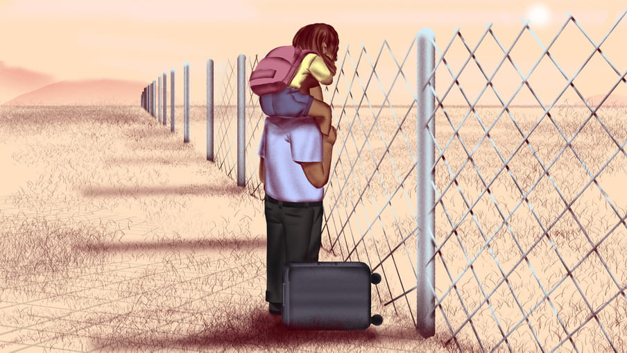 Illustration of a person with a child on his shoulders looking over a fence in a vast sand coloured landscape. Next to them is a small suitcase.