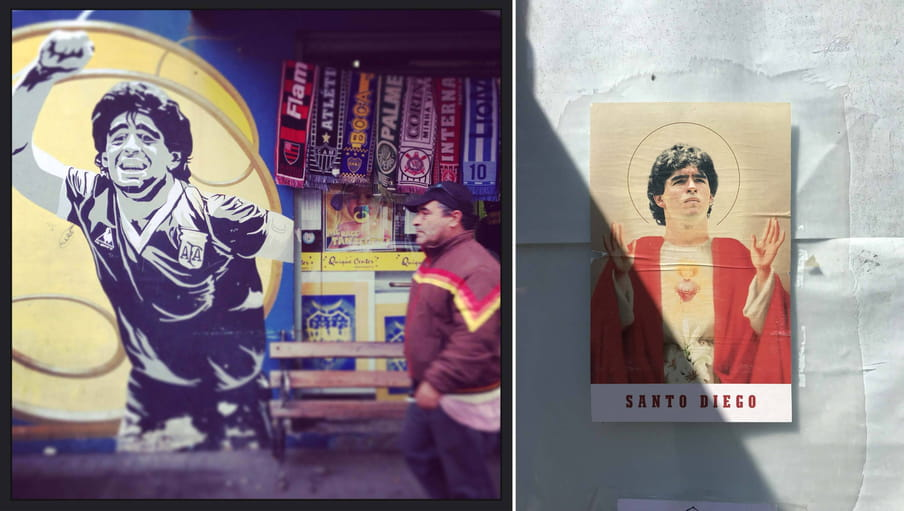 Two photographs. On the left there is a graffiti of Maradona on a wall in Buenos Aires, with a man walking in front of it. On the right there is a small poster in Naples mimicking religious images of saints. It says Santo Diego (Saint Diego) at the bottom.