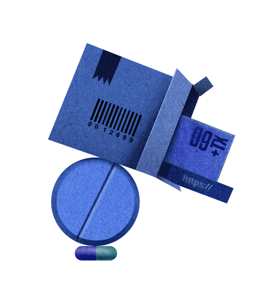 Illustration of a blue box with icons related to the internet spilling out, balancing on top of two pill, one blue and one blue and green.