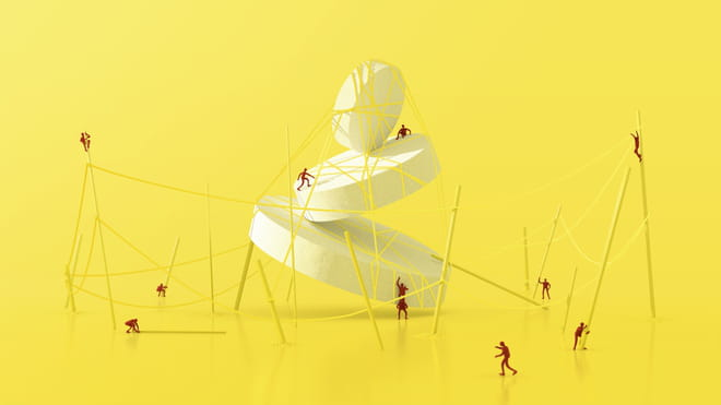 Illustration of people working together, balancing a set of white pills with sticks and rope - against a yellow background.