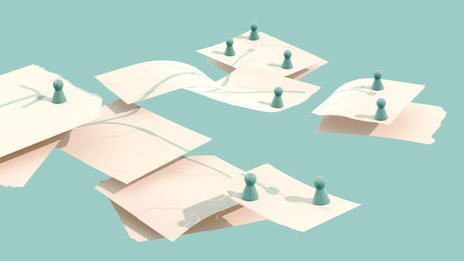 Illustration of pieces of paper, connected with green lines drawn on them, pawns standing on top of the papers