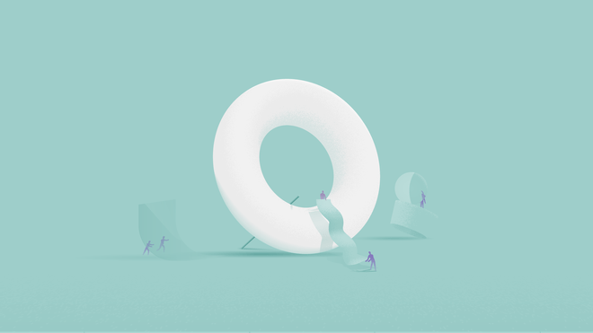 Illustration of a white torus over a blue background. Around it, little human-like figures are busy transporting objects of different shapes and sizes.