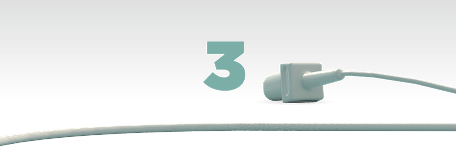 Illustration of the number three in green with a mic laying in front of it