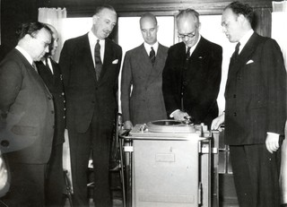 """The opening of the Dutch Radar Research Station in 1947, with J.M.F.A. """"Joop"""" van Dijk (far right) and Sir Robert Watson-Watt (far left).  Watson-Watt developed the radar technology used by Britain in WWII. Photo from private collection."""